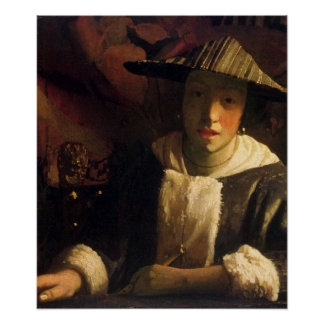 Girl with a flute by Johannes Vermeer Poster