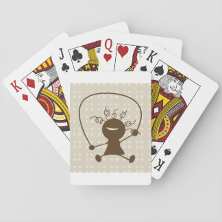 Girl With A Jump Rope Playing Cards