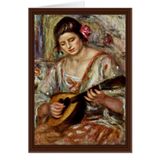 Girl With A Mandolin By Pierre-Auguste Renoir Card