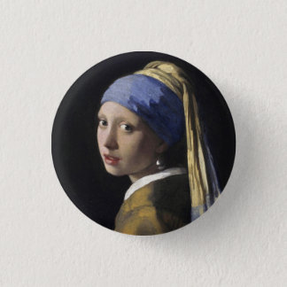 Girl with a Pearl Earring 1 Inch Round Button