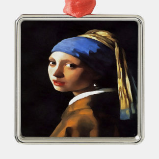 Girl with a Pearl Earring After Johannes Vermeer Metal Ornament