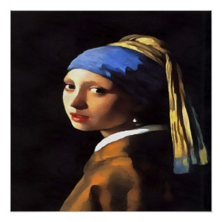 Girl with a Pearl Earring After Johannes Vermeer Perfect Poster