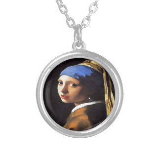 Girl with a Pearl Earring After Johannes Vermeer Silver Plated Necklace
