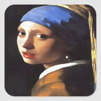 Girl with a Pearl Earring After Johannes Vermeer Square Sticker