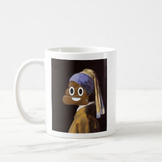 Girl with a Pearl Earring and Happy Poop Coffee Mug