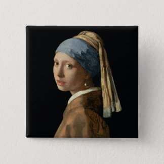 Girl with a Pearl Earring, c.1665-6 (oil on canvas 2 Inch Square Button