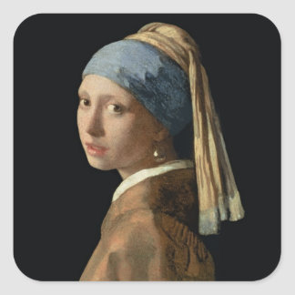 Girl with a Pearl Earring, c.1665-6 (oil on canvas Square Sticker