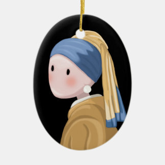 Girl with a Pearl Earring Ceramic Ornament
