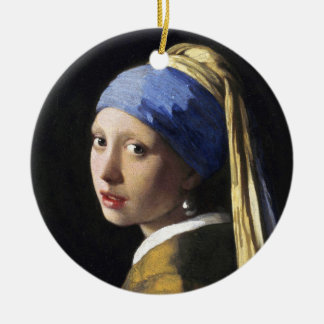 Girl with a Pearl Earring, Jan Vermeer Round Ceramic Ornament