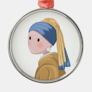 Girl with a Pearl Earring Metal Ornament