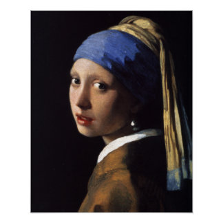 Girl with a Pearl Earring Painting by Vermeer Poster