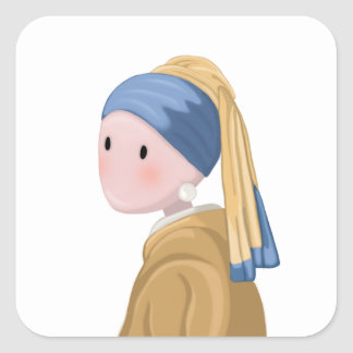 Girl with a Pearl Earring Square Sticker