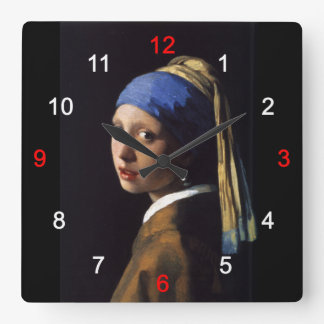 Girl with a Pearl Earring Square Wall Clock
