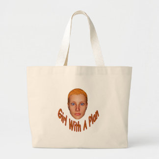 Girl With A Plan Large Tote Bag