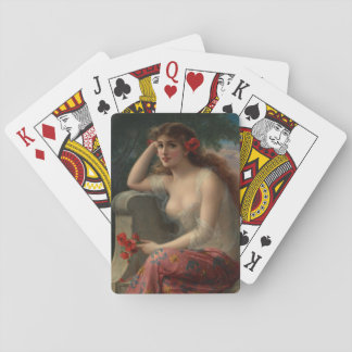 Girl with a Poppy by Emile Vernon Playing Cards