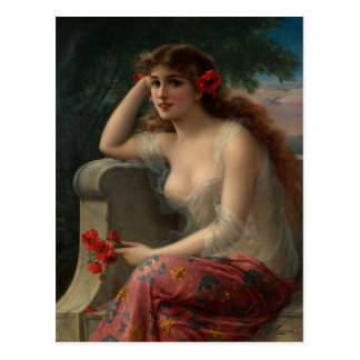 Girl with a Poppy Postcard