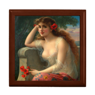 Girl With a Poppy Wooden Keepsake Box