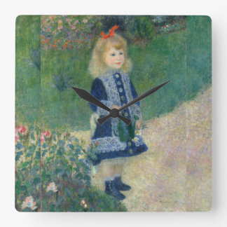 Girl with a Watering Can by Pierre-Auguste Renoir Square Wall Clock