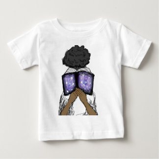 Girl with Afro Reading Baby T-Shirt