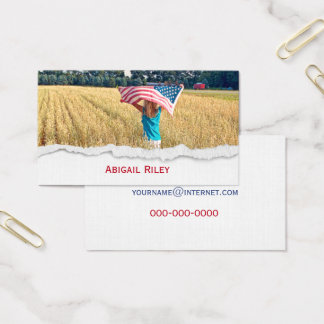 Girl with American Flag Business Card
