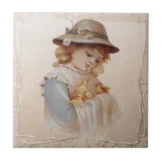 Girl with Baby Ducks Tile