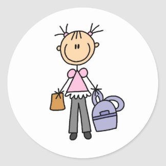 Girl With Backpack Round Sticker