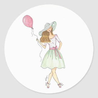 Girl with balloon - stickers