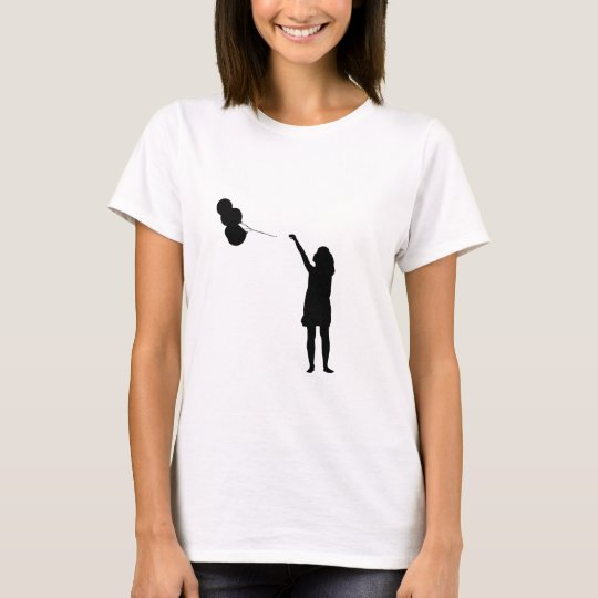 Girl With Balloons Silhouette T-Shirt