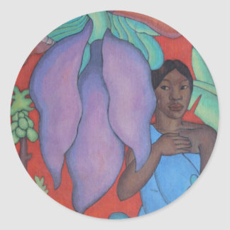 'Girl with Banana Leaf' - Arman Manookian Classic Round Sticker