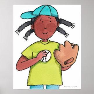 Girl with Baseball & Glove Poster