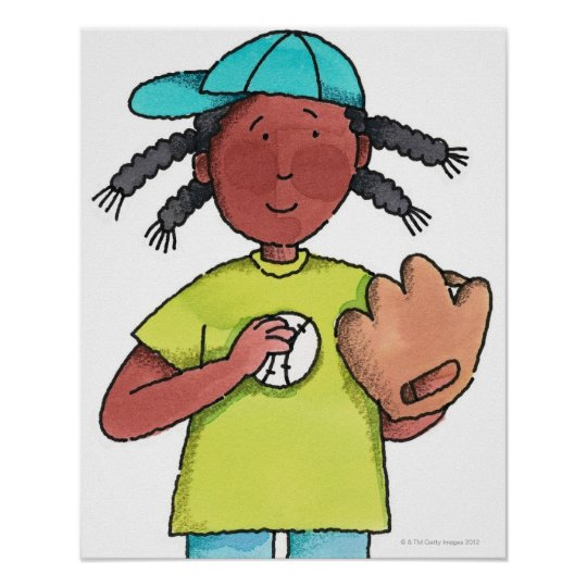 Girl with Baseball & Glove Poster