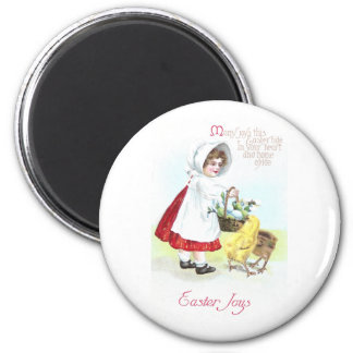 Girl with Basket of Eggs and Chicks 2 Inch Round Magnet