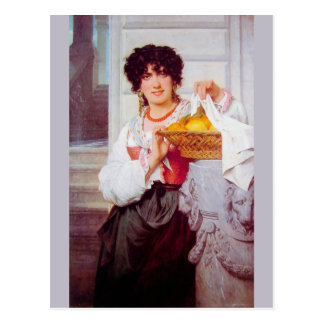 Girl with Basket of Oranges and Lemons by Cot Postcard