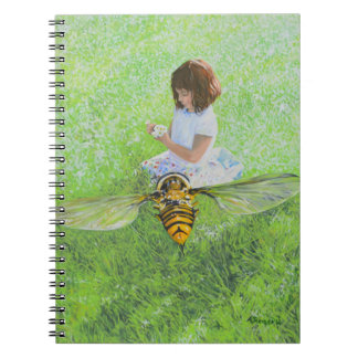 Girl with Bee Painting by Steve Berger Notebook