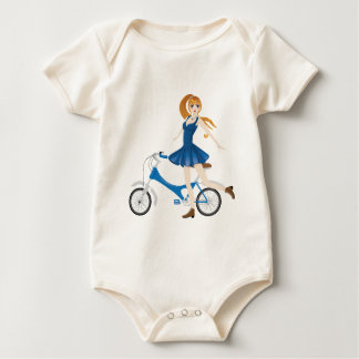 Girl with Bicycle 2 Baby Bodysuit