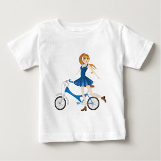 Girl with Bicycle 2 Baby T-Shirt