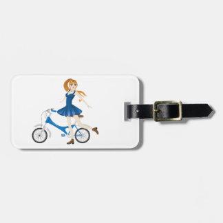 Girl with Bicycle 2 Bag Tag