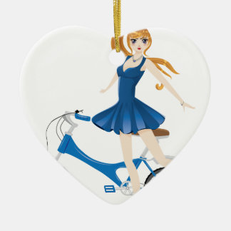 Girl with Bicycle 2 Ceramic Heart Ornament