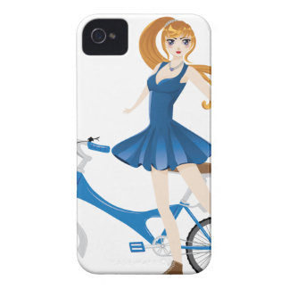 Girl with Bicycle 2 iPhone 4 Cases