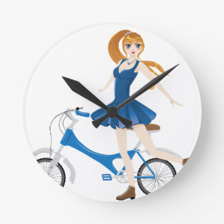 Girl with Bicycle 2 Wall Clock