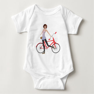 Girl with Bicycle Baby Bodysuit