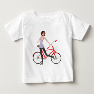 Girl with Bicycle Baby T-Shirt