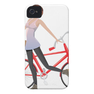 Girl with Bicycle iPhone 4 Case-Mate Case