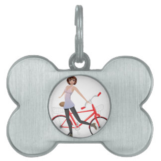 Girl with Bicycle Pet Name Tag