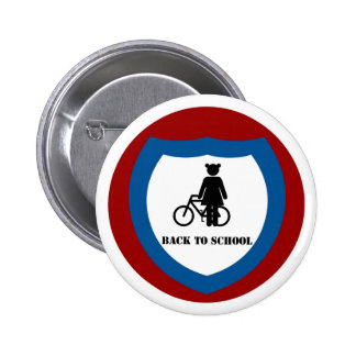 Girl with bike - Badge 2 Inch Round Button