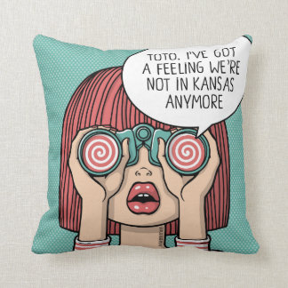 Girl with Binoculars Illustration Pillow