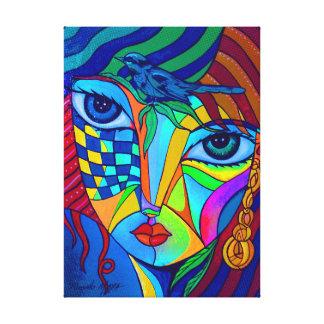 Girl with bird canvas print