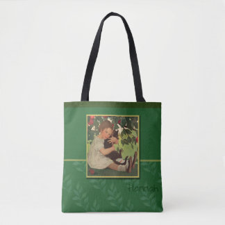 Girl with Black Cat Tote Bag