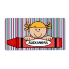 Girl with Blonde Hair Crayon School Supply Label