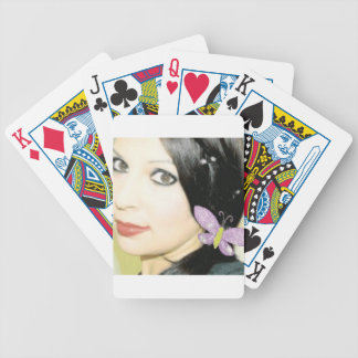 Girl with bow poker deck